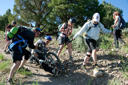 Crossing a rocky section of the trail.