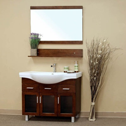 Bellaterra Home 39.8 in Single sink Solid Wood Bathroom Vanity walnut 203139