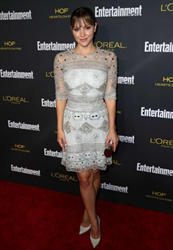 Katharine McPhee carries Jill Milan 450 Sutter Clutch to Entertainment Weekly Pre Emmy Party, August 23, 2014 (Photo: GotCeleb)