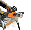 The 2-in-1 yard tool detaches without tools from its extension pole for yard clean-up or cutting firewood.