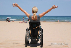 wheelchair user On the beach