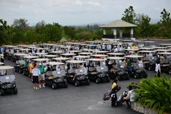 Golf carts lined up at Black Mountain Golf Club on the 2nd day of the Centara World Masters Golf Championship.