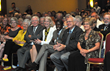 "R to L: Grand Madam President Gloria Mason, Grand Worthy President Edwin ""Bud"" Haigh, Dr. E. Dale Abel, and UI President Sally Mason (yellow) at FOE DRC dedication."