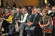 "R to L: Grand Madam President Gloria Mason, Grand Worthy President Edwin ""Bud"" Haigh, Dr. E. Dale Abel, and UI President Sally Mason (yellow) at FOE DRC dedication."