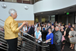 University of Iowa President Sally Mason speaks to members of the Fraternal Order of Eagles at the new $25M FOE Diabetes Research Center at the University of Iowa, Aug. 22.