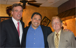 Senator Mark Warner, Manassas City Council Candidate Ken Elston, and Virginia State Senator Chuck Colgan