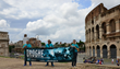 At the Coliseum in Rome, volunteers from the Church of Scientology promote drug-free living.