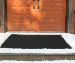 Heated carpet mats melt snow & ice w/o shoveling or using chemicals