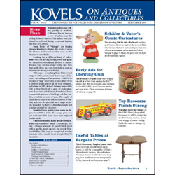 kovels, antiques, collectibles, schafer, vater, chewing gum, racecars, dedham pottery, cereal premium, basel