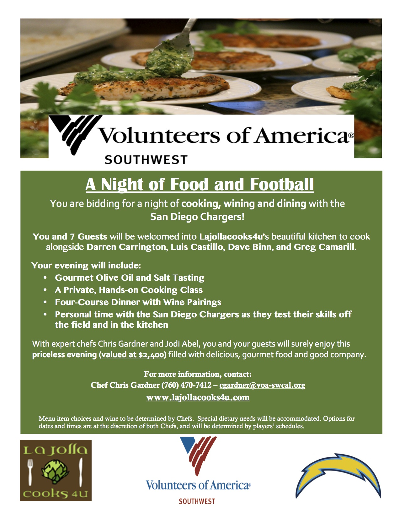 Lajollacooks4u Cooking for Charity A Night of Food and