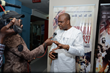 'INVASION 1897' star Mike Omoriegbe speaks to the press at the media unveiling of the film in Lagos, Nigeria.