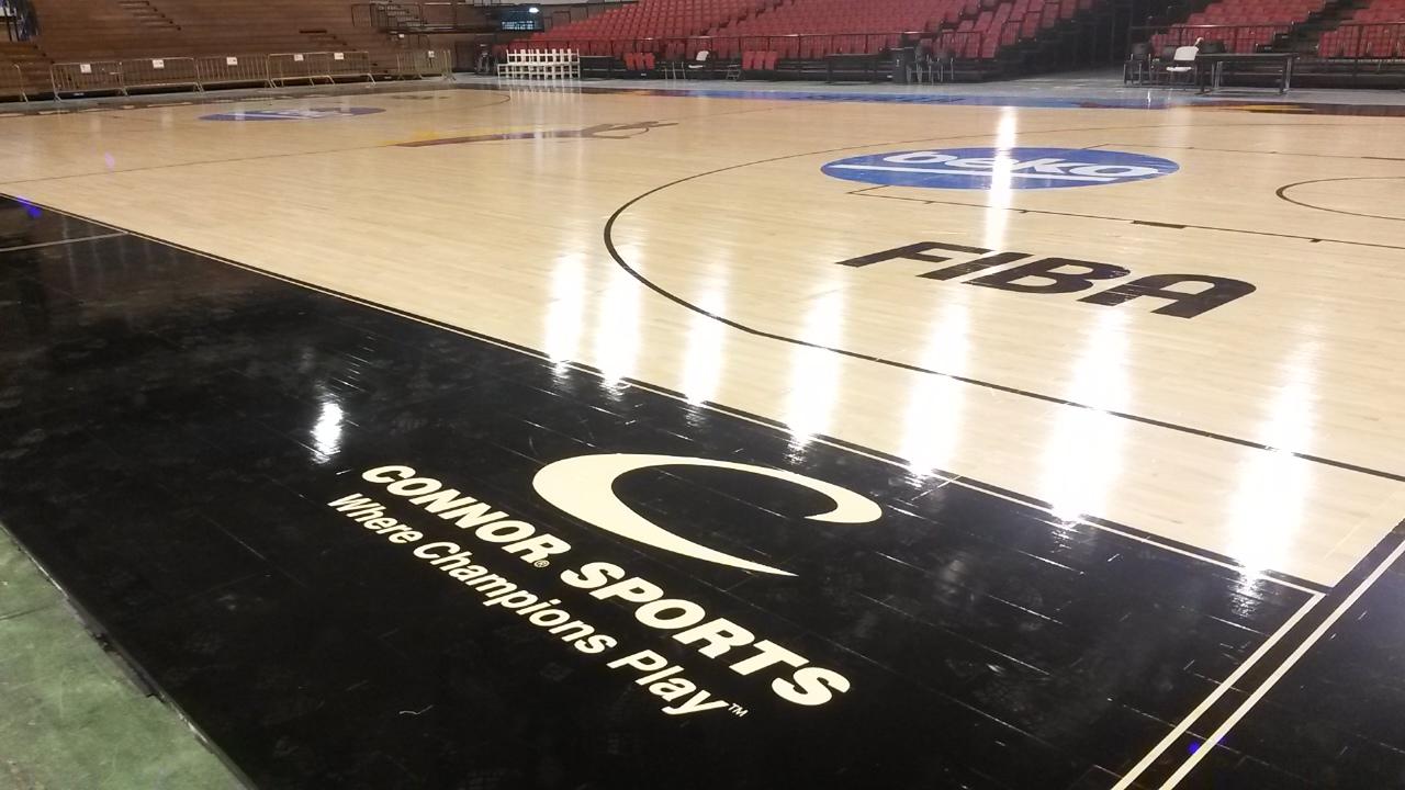 Connor Sports Logo And Where Champions Play Tagline On 2014 FIBA World Cup  Custom Floor
