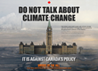 Do Not Talk about Climate Change poster features image of the Canadian Parliament Buildings dropped into the Alberta Oil Sands