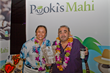 Actor/Producer, Ken Davitian giving Pooki's Mahi's Founder/CEO, Les kudos