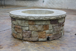 Precast fire pit using Walttools Stacked stone fire pit liner