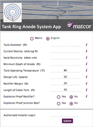 MATCOR Tank Ring Anode System App