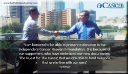 Ty Bollinger presents a donation to Gary Teal, President of the Independent Cancer Research Foundation