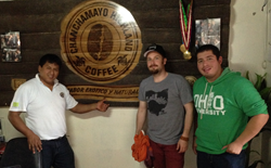 From left: Jose Jorge Durand,  owner of Chanchamayo Highland coffee, meets with Brandon Bir and Elmer Plasencia from Crimson Cup Coffee & Tea