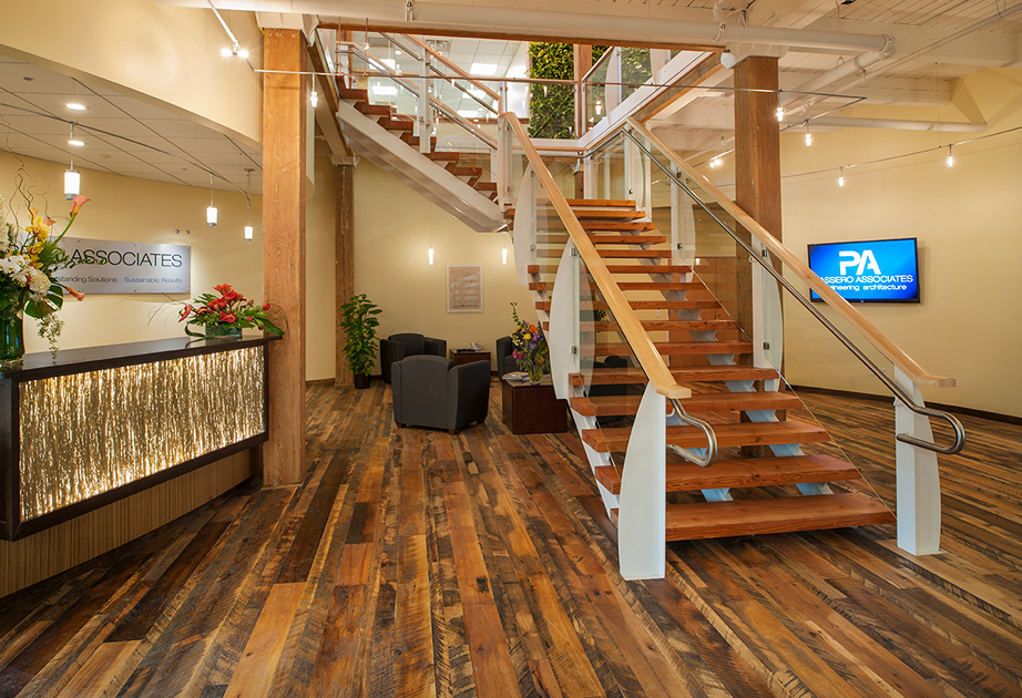 The office headquarters for Passero Associates in Rochester NY features  Settlers Plank flooring and reclaimed Heart Pine stair treads. - Pioneer Millworks Now Offering Products Beyond Reclaimed Wood Flooring