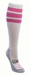 Sugar Free Sox Ladies Athletic Compression Sox with Retro Pink Tube Sock Striping