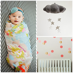 Project Nursery Shop products, Baby in a Swaddle, exclusive cloud mobile and polka dot room decor.
