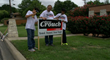 Sons Nicholas and Gerald with their father Gerald Flores are the sign crew for team Crouch.