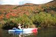 kayaking a local flat water river during foliage