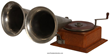 "Wonder Talking Machine Company phonograph titled the ""Double Bell Wonder"" in oak case (est. $8,000-$12,000)."