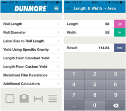Dunmore roll-to-roll calculator app screenscreenshot