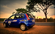 Sunset in a Zoomcar Figo