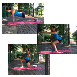Push up squat and forward lunge