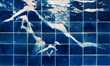 'Swim' one of the photos in APOIAN's Mosaic Cyanotypes exhibit at the Melina Mercouri Gallery September 6-15th 2014.