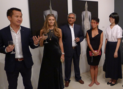 From left: Lionel Yeo, chief executive of the Singapore Tourism Board; Loredana Pazzini-Paracciani, curator of Anthropos New York; Sundaram Tagore, president, curator and executive director of Sundaram Tagore Gallery; Nino Sarabutra (Thailand); Lavender C