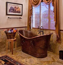 BTDR67DB Hammered Copper Double Slipper Bathtub With Rings From Premier Copper Products