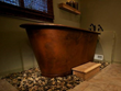 BTM72DB Hammered Copper Modern Slipper Style Bathtub From Premier Copper Products