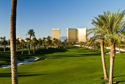 View from a green on Bali Hai Golf Club. The Delano and Mandalay Bay can be seen in the back ground.