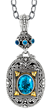 This 18k Yellow Gold and Oxidized Sterling Silver Byzantine pendant, with Oval Blue Topaz, exemplifies the inspired design of the Phillip Gavriel Collection at www.tyler-adam.com.