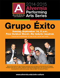 Grupo Exito will perform at Alvernia on Sept. 14.