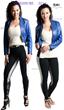 Blue leather biker bolero combo