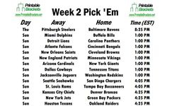picture regarding Nfl Week 2 Schedule Printable named 7 days 2 Routine Opens With Steelers at Ravens upon Thursday