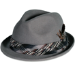 PMW80 PAMOA WOOL FELT FEDORA W/PLAID TRIM AND FEATHER