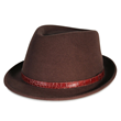PMW86 PAMOA WOOL FEDORA W/CROCODILE LEATHER TRIM