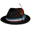 PMW89 PAMOA WOOL FELT FEDORA W/ MULTI STRIPE FEATHER TRIM