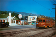 The Pacific Electric Red Car Trolley running outside the restaurant site on Santa Monica Blvd