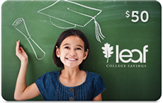 Sample LEAF College Savings Gift Card