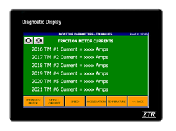 Example of ZTR Diagnostic Display Screen