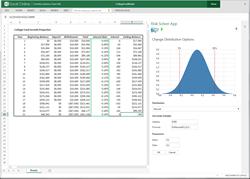 Frontline Systems Risk Solver App - Monte Carlo Simulation for Excel Online