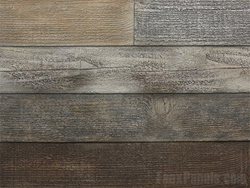 Faux reclaimed wood panels have the look of weathered barn board without the complications.