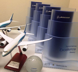 Electrocube, Southern California design manufacturer of passive electrical components receives Boeing Excellence Award seven-peat for preferred supplier. Electrocube maintained a Silver composite performance rating for each month of the 12-month performan