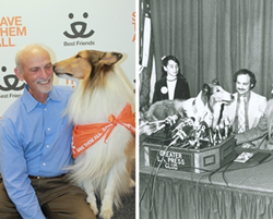 Dr. Jack Stephens of Pets Best, with television legend Lassie.